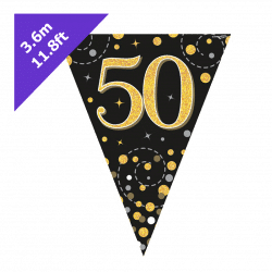 50th Birthday Bunting In Black and Gold