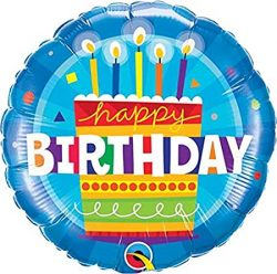 helium filled happy birthday cake foil balloon from cardiff balloons