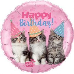 helium filled happy birthday kittens foil balloon from cardiff balloons