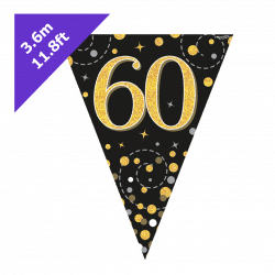 60th Birthday Bunting In Black And Gold
