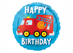 helium filled fire engine happy birthday foil balloon from cardiff balloons
