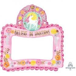 air filled unicorn photo frame foil balloon from cardiff balloons