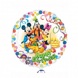 helium filled disney happy birthday foil balloon from cardiff balloons