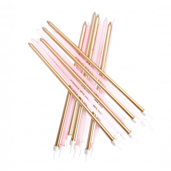 Extra Long Pink And Gold Candles