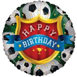 helium filled happy birthday football foil balloon from cardiff balloons
