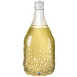 helium filled gold champagne bottle from cardiff balloons