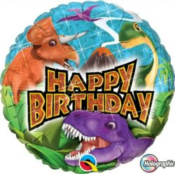 helium filled holographic dinosaur happy birthday foil balloon from cardiff balloons