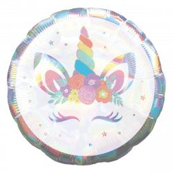 helium filled iridescent unicorn foil balloon from cardiff balloons