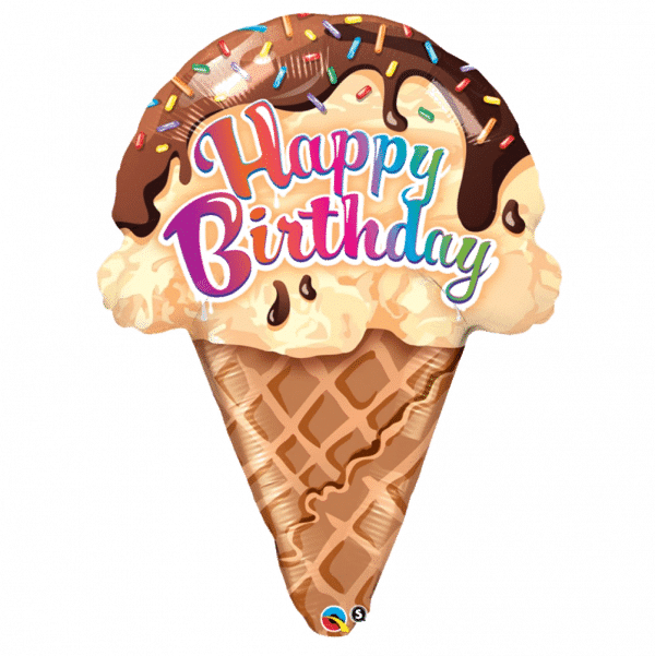 helium filled happy birthday ice cream foil balloon from cardiff balloons