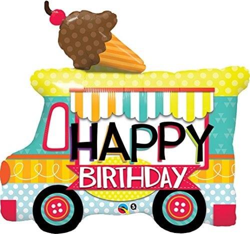 helium filled happy birthday ice cream van foil balloon from cardiff balloons