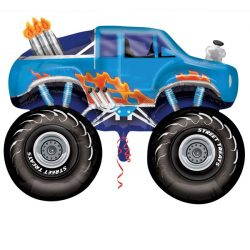 helium filled large blue monster truck foil balloon from cardiff balloons