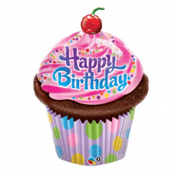 helium filled happy birthday cupcake foil balloon from cardiff balloons