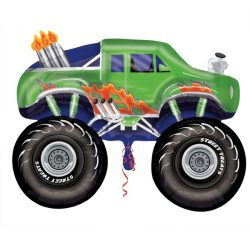 helium filled large green monster truck foil balloon from cardiff balloons