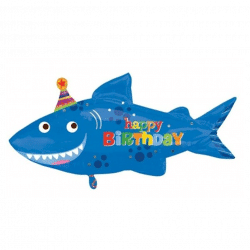 large helium filled shark birthday foil balloon from cardiff balloons