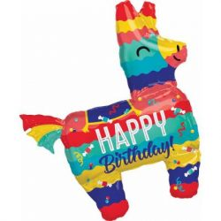 large helium filled birthday pinata foil balloon from cardiff balloons