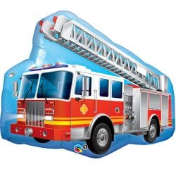 helium filled large red fire engine foil balloon from cardiff balloons