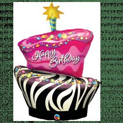 helium filled zebra birthday cake foil balloon from cardiff balloons