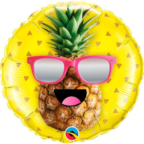 helium filled pineapple face foil balloon from cardiff balloons