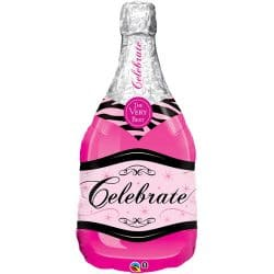 helium filled pink champagne bottle foil balloon from cardiff balloons