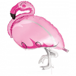 helium filled pink flamingo foil balloon from cardiff balloons