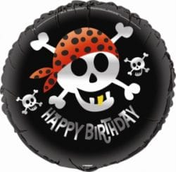 helium filled pirate happy birthday foil balloon from cardiff balloons