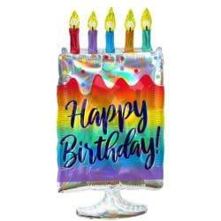 helium filled rainbow birthday cake foil balloon from cardiff balloons