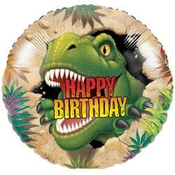 helium filled t-rex happy birthday foil balloon from cardiff balloons