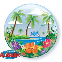 helium filled hawaiin troical bubble balloon from cardiff balloons