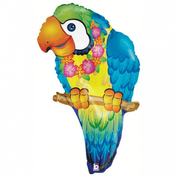 helium filled hawaiian tropical parrot foil balloon from cardiff balloons