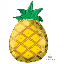 helium filled haawaiian pineapple foil balloon from cardiff balloons