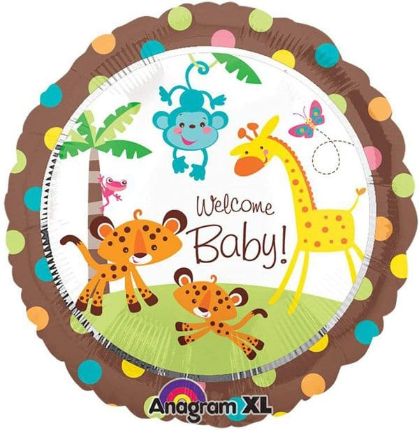helium filled welcome baby jungle foil balloon from cardiff balloons