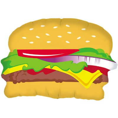 helium filled cheese burger foil balloon from cardiff balloons