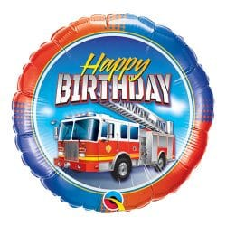 helium filled fire truck happy birthday foil balloon from cardiff balloons