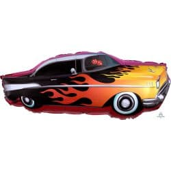 helium filled flaming racing car foil balloon from cardiff balloos