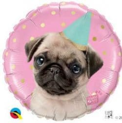 helium filled birthday pug foil balloon from cardiff balloons
