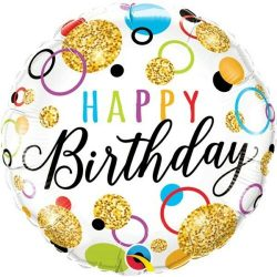 helium filled glitter spots happy birthday foil balloons