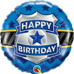 helium filled happy birthday police badge foil balloon from cardiff balloons