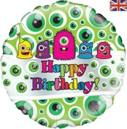helium filled monsters happy birthday foil balloon from cardiff balloons