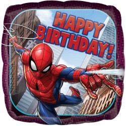 helium filled happy birthday spideman foil balloon from cardiff balloons