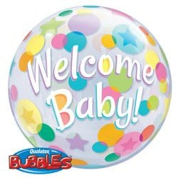 helium filled welcome baby bubble balloon from cardiff balloons