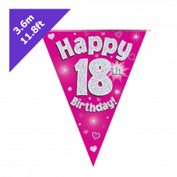 pink 18th birthday bunting from cardiff balloons