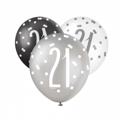pack of 6 black and silver latex balloons age 21 from cardiff balloons