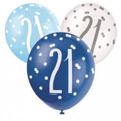 pack of 6 21st birthday blue and white latex balloons from cardiff balloons