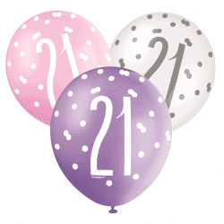 pack of 6 pink and white 21st birthday latex balloons from cardiff balloons