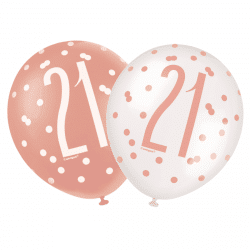 pack of 6 rose gold 21st birthday latex balloons from cardiff balloons