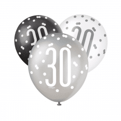 pack of 6 black and silver 30th birthday latex balloons from cardiff balloons