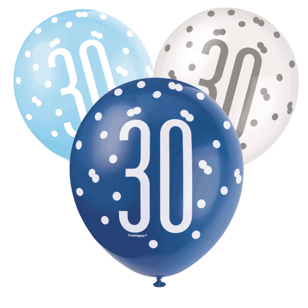 pack of 6 blue and white 30th birthday latex balloons from cardiff balloons