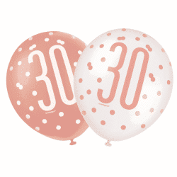 pack of 6 rose gold 30th birthday latex balloons from cardiff balloons