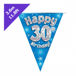 blue 30th birthday bunting