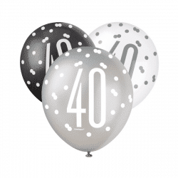 pack of black and silver 40th birthday latex balloon from cardiff balloons